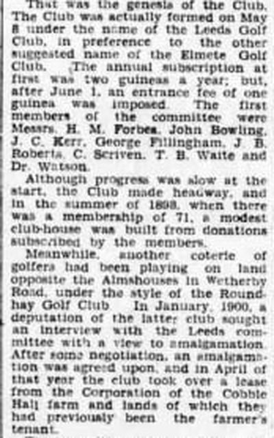 Leeds (Roundhay) Golf Club, Yorkshire. From the Yorkshire Post  Leeds Mercury December 1941.