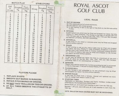 Royal Ascot Golf Club, Berkshire. Royal Ascot scorecard from 1980.