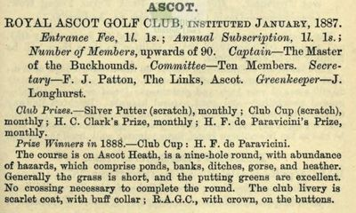 Royal Ascot Golf Club, Berkshire. Entry from The Golfing Annual 1888/89.