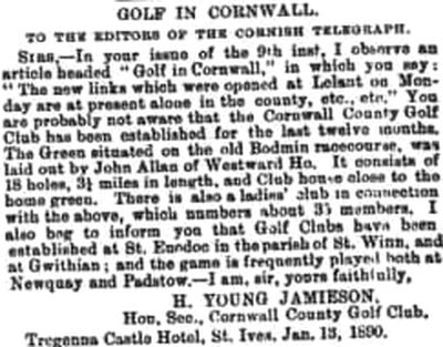 Royal Cornwall Golf Club, Bodmin. One of the earliest established golf courses in Cornwall.