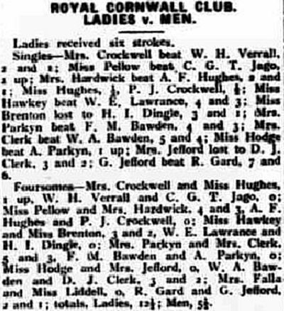 Royal Cornwall Golf Club, Bodmin Racecourse. Competition result Ladies v Men from June 1932.