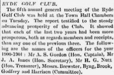Ryde Golf Club, Isle of Wight. Report on the fifth annual meeting in November 1900.