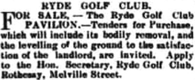 Ryde Golf Club, Westridge, Isle of Wight. The Westridge clubhouse up for sale in 1903.