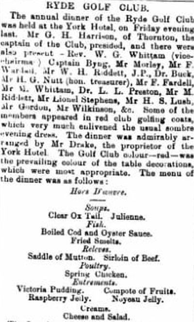 Ryde Golf Club, Westridge, Isle of Wight. The annual dinner at the York Hotel in April 1898.
