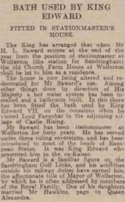Sandringham Golf Course, Norfolk. Article from The Dundee Courier in November 1924.