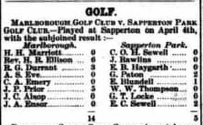 Sapperton Park Golf Club, Cirencester. Match against Marlborough April 4th 1902.