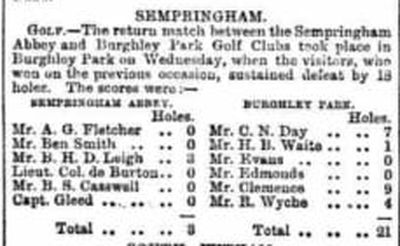 Sempringham Abbey Golf Clib, Lincs. Result of a match against Burghley Park May 1894.