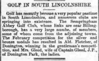 Sempringham Abbey Golf Clib, Lincs. Growth of golf in South Lincolnshire February 1894.