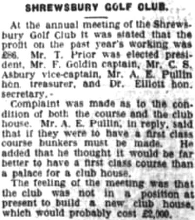 Shrewsbury Golf Club, Meole Brace. Report on the annual meeting in February 1930.