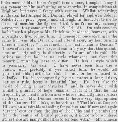 Cooper's Hill Golf Club, Surrey. Report from the Illustrated Sporting Dramatic News March 1894.