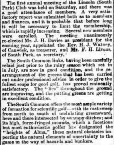 Southcliffe (South Park) Golf Club, Lincoln. Report on the first annual meeting 1894.