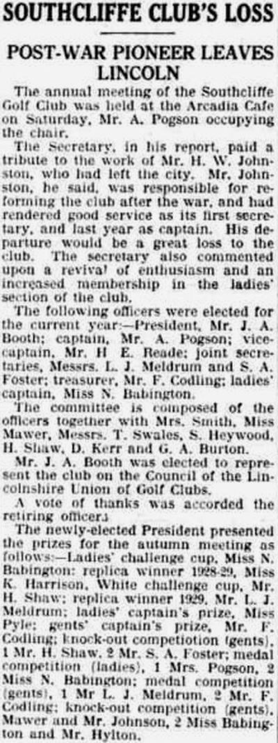 Southcliffe Golf Club, Lincoln. Report on the annual meeting in January 1931.
