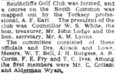 Southcliffe Golf Club, Lincoln. Report in 1937 from 25 years ago.