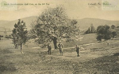 South Herefordshire Golf Club, Colwall, Malvern. Golfers on the third tee.