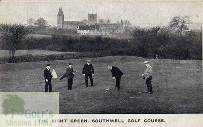 Southwell Golf Club, Notts. Putting on the eighth green.