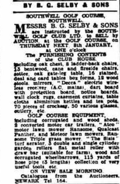Southwell Golf Club, Notts. Article from Nottingham Journal January 1942.