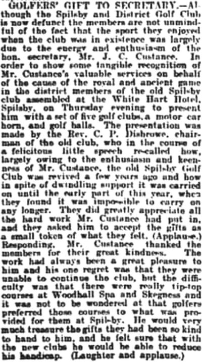 Spilsby & District Golf Club, Lincolnshire. Golfers' gift to secretary in November 1926.
