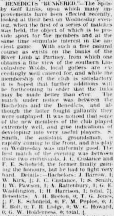 Spilsby & District Golf Club, Lincolnshire. Report and background on the club in June 1923.