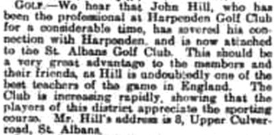 St Albans Golf Club, Hertfordshire. The new professional at St Albans in November 1907.