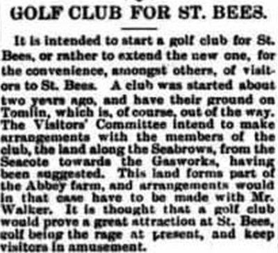 St Bees Golf Club, Tomlin Course, Cumbria. Report on the second course in 1895.
