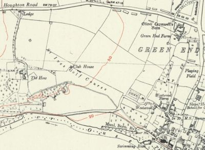 St Ives Golf Club, Huntingdonshire. The course and clubhouse on the 1949 O.S. map.