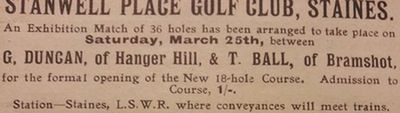 Stanwell Place Golf Club, Staines. Advert for golf match.