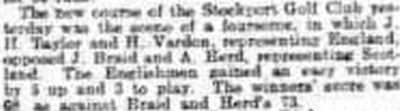 Stockport Golf Club. Report on the opening of the current course in May 1910.