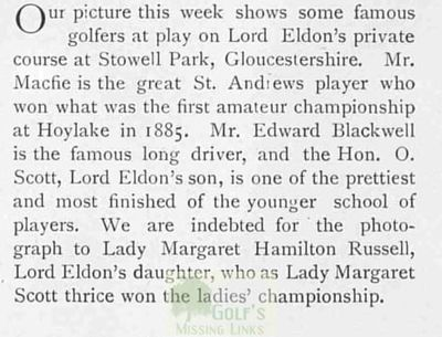 Stowell Park Golf Course, Northleach, Glous. Article from The Tatler March 1903.