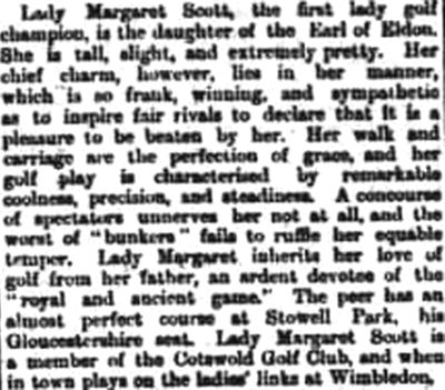 Stowell Park Golf Course, Northleach, Glous. Report on Lady Margaret Scott in June 1893.
