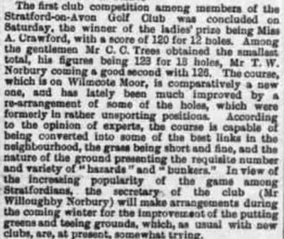 Stratford-on-Avon Golf Club. Report on the first competition played in October 1894.