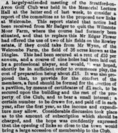 Stratford-on-Avon Golf Club. Report on the move to Welcombe Farm in December 1896.