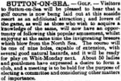 Sutton-on-Sea Golf Club, Lincolnshire. Report on the golf course from May 1894.