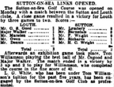Sutton-on-Sea Golf Club, Lincolnshire. Report on the opening of the new course May 1904.