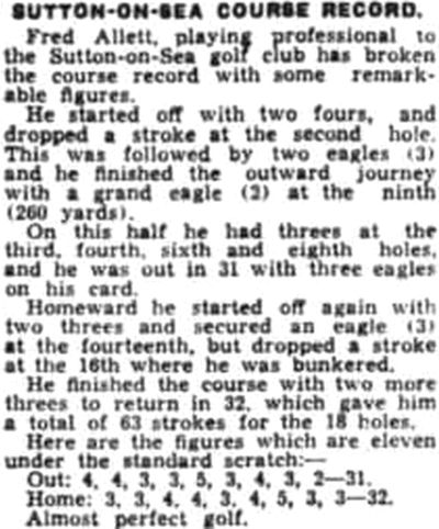 Sutton-on-Sea Golf Club, Lincolnshire. New professional course record by Fred Allett in June 1939.