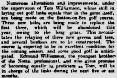 Sutton-on-Sea Golf Club, Lincolnshire. Changes to the course by Tom Williamson in February 1905.