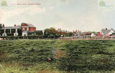 Sutton-on-Sea Golf Club, Lincolnshire. Early postcard showing the Grange Hotel and Golf Links.