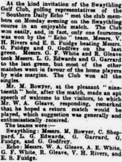 Swaythling Golf Club, Southampton. Result of a match against the Southern Daily Echo in June 1923.