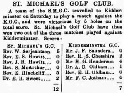 Tenbury Golf Club, Worcestershire. The first record for St Michael's Golf Club in 1898.
