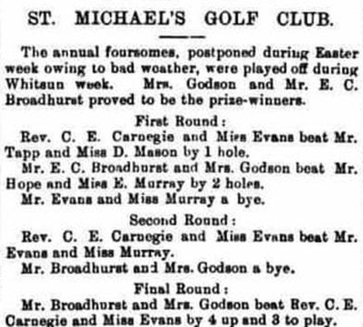 Tenbury Golf Club, Worcestershire. Competition played at St Michael's in June 1901.