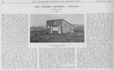 Tintagel Golf Club, Cornwall. Article from Illustrated Sporting and Dramatic News November 1917.