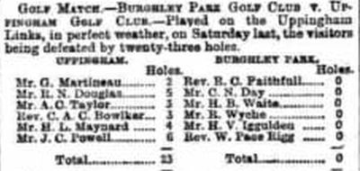 Uppingham Golf Club, Rutland. Result of a match against Burghley Park March 1894.