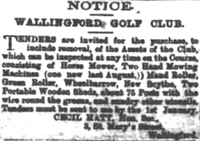 Wallingford Golf Club, Oxfordshire. Selling off the clubs assets in December 1915.