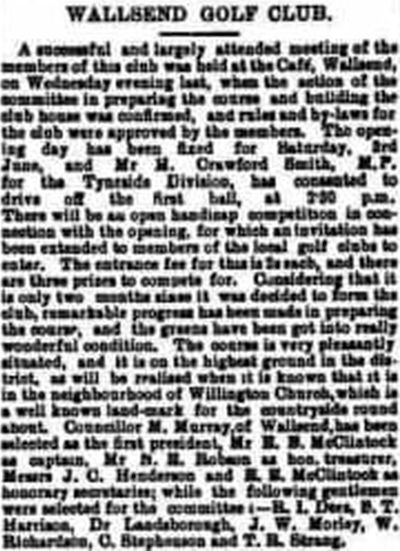 Wallsend Golf Club, Rosehill, Newcastle-on-Tyne. Report on a meeting held in May 1905.