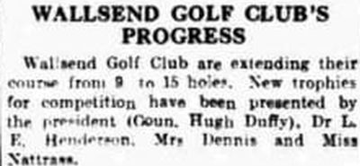 Wallsend Golf Club, Rosehill, Newcastle-on-Tyne. Report on the extension of the course May 1935.