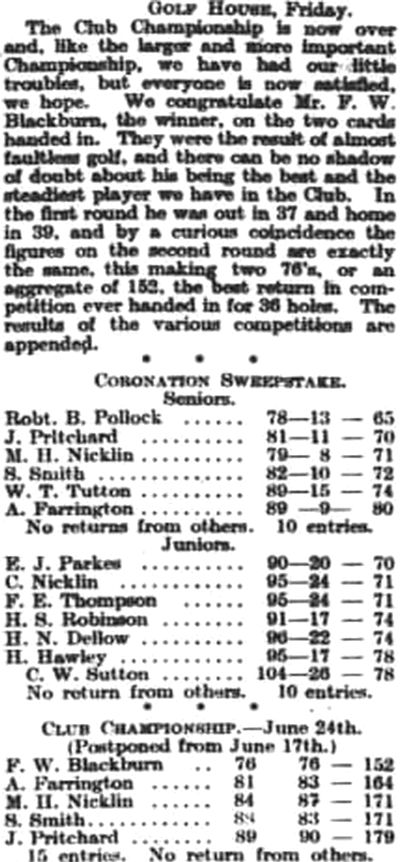 Walsall Golf Club, Gorway, Walsall. Competition results from June 1911.