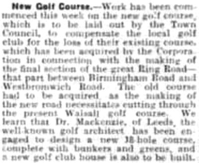 Walsall Golf Club, Gorway, Walsall. Report on the new course in December 1927.