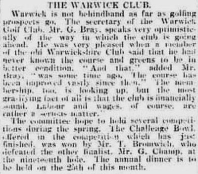 Warwick Golf Club. Report on the club from March 1920.