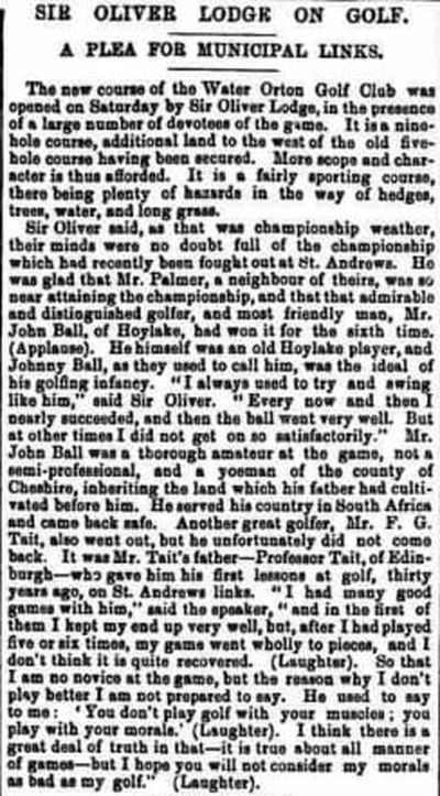Water Orton Golf Club, Warwickshire. Newspaper article from June 1907.