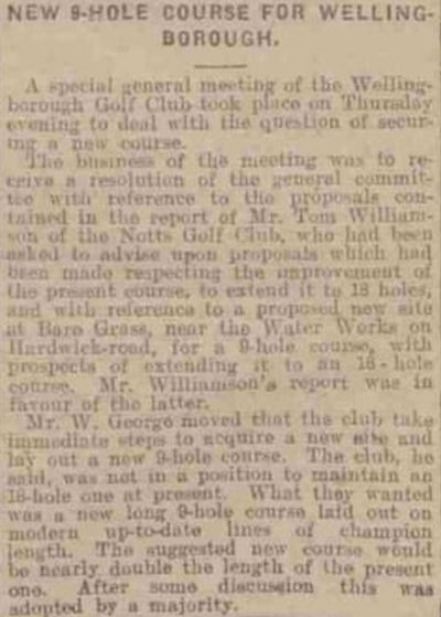 Wellingborough Golf Club, Northants. Report on the move to the new course in 1922.