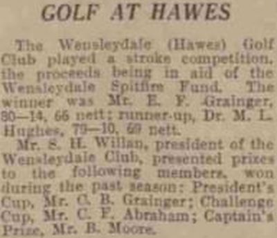 Wensleydale (Hawes) Golf Club, Yorkshire. Competition for the Spitfire Fund in October 1940.
